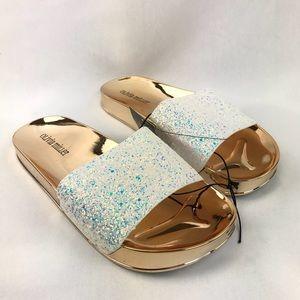 Olivia Miller Fashion Pool Slides Glitter White